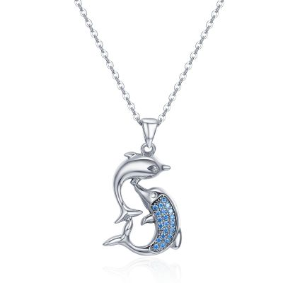 Sterling Silver Delicate Double Dolphin Design Round Cut Necklace