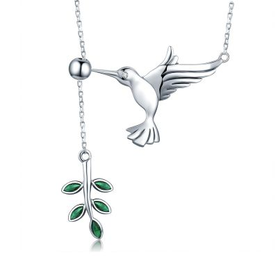 Sterling Silver Elegant Hummingbird Inspired Round And Marquise Cut Necklace