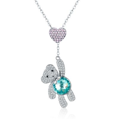 Sterling Silver Elegant Cute Bear Inspired Heart Round Cut Necklace
