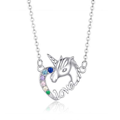 Sterling Silver Unicorn Inspired Multi Color Round Cut Necklace