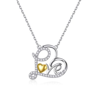 Sterling Silver Delicate Love Heart Shape Two Tone Round Cut Necklace