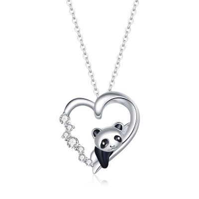 Sterling Silver Panda Inspired Heart Shape Round Cut Necklace