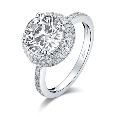 Sterling Silver Delicate Triple Halo Round Cut Engagement Ring