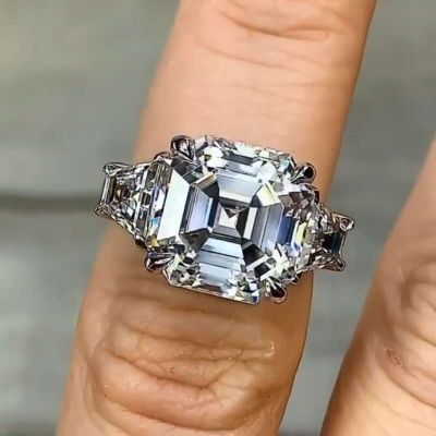 Sterling Silver Simple Three Stone Asscher Cut Engagement Ring