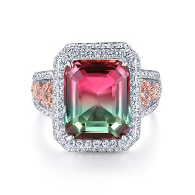 Sterling Silver Vintage Twist Two Tone Double Halo Emerald Cut Watermelon Engagement Ring