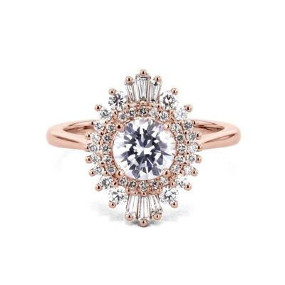 Sterling Silver Exquisite Vintage Double Halo Round Cut Engagement Ring