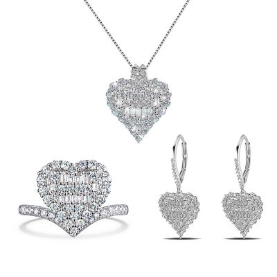Sterling Silver Elegant Heart Shape Halo Round With Baguette Cut Jewelry Set