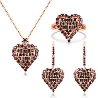 Sterling Silver Exquisite Heart Shape Halo Round And Baguette Cut Chocolate Jewelry Set