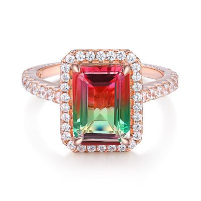 Sterling Silver Delicate Halo Emerald Cut Watermelon Engagement Ring