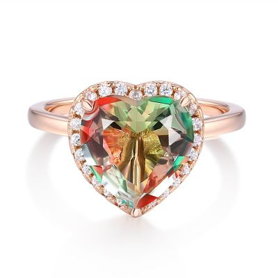 Sterling Silver Delicate Halo Round Cut Watermelon Engagement Ring