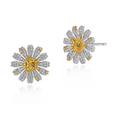 Sterling Silver Delicate Sunflower Inspired Halo Cushion Cut Stud Earrings