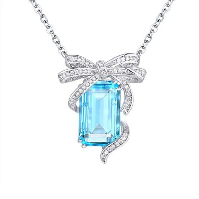 Sterling Silver Delicate Bowknot Design Emerald Cut Necklace