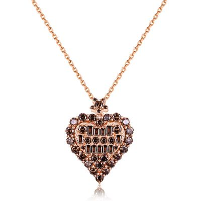 Sterling Silver Exquisite Heart Shape Round With Baguette Cut Chocolate Necklace