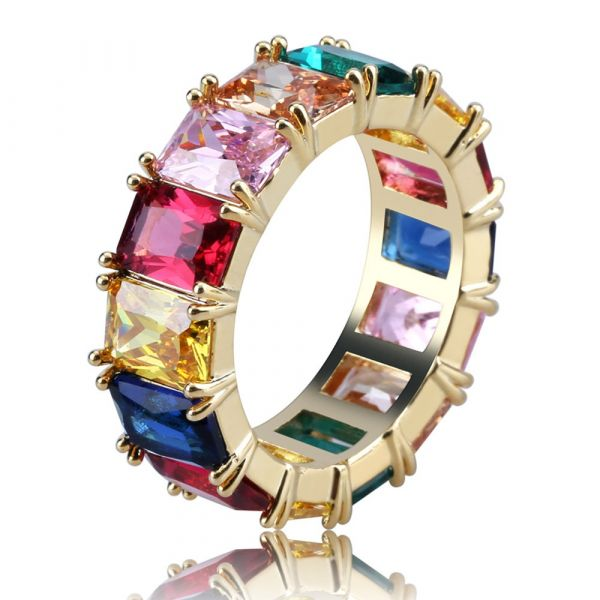 Sterling Silver Delicate Multi Color Design Radiant Cut Women's Eternity Wedding Band