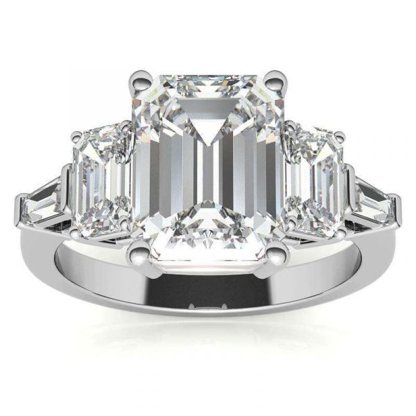 Sterling Silver Delicate Three Stone Emerald Cut Engagement Ring