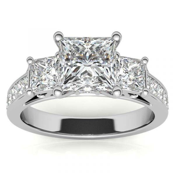 Sterling Silver Classic Three Stone Princess Cut Engagement Ring
