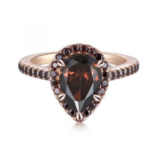 Sterling Silver Classic Halo Round With Pear Cut Chocolate Engagement Ring