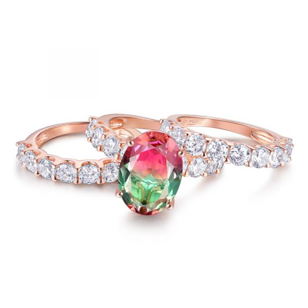 Sterling Silver Classic Half Eternity Halo Oval With Round Cut Watermelon Trio Wedding Ring Set