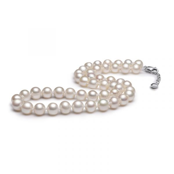 Sterling Silver Luxurious White Pearl Necklace