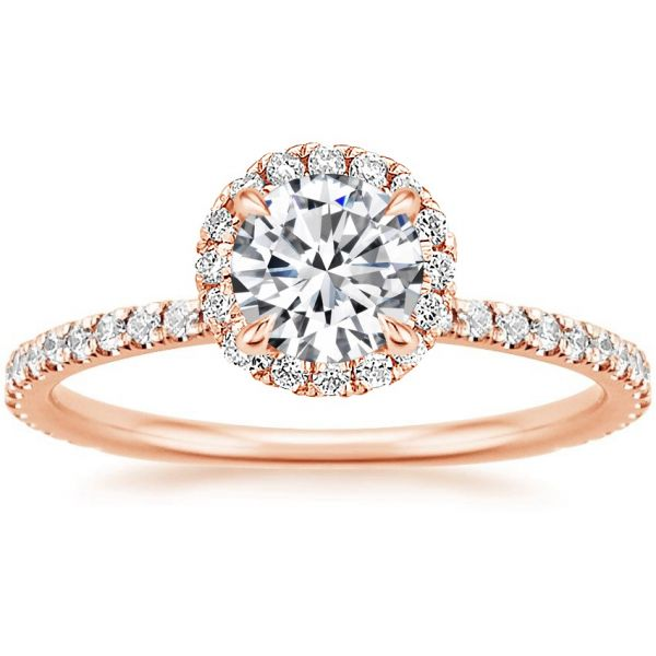 Moissanite Classic Halo Round Cut Engagement Ring