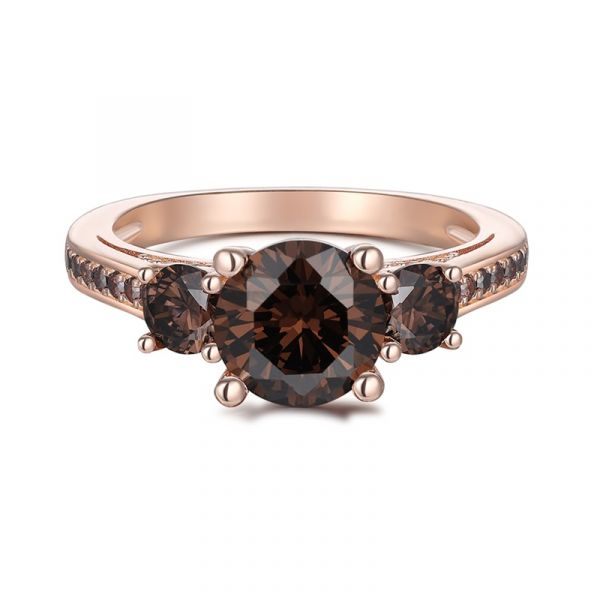 Sterling Silver Three Stone Design Round Cut Chocolate Engagement Ring