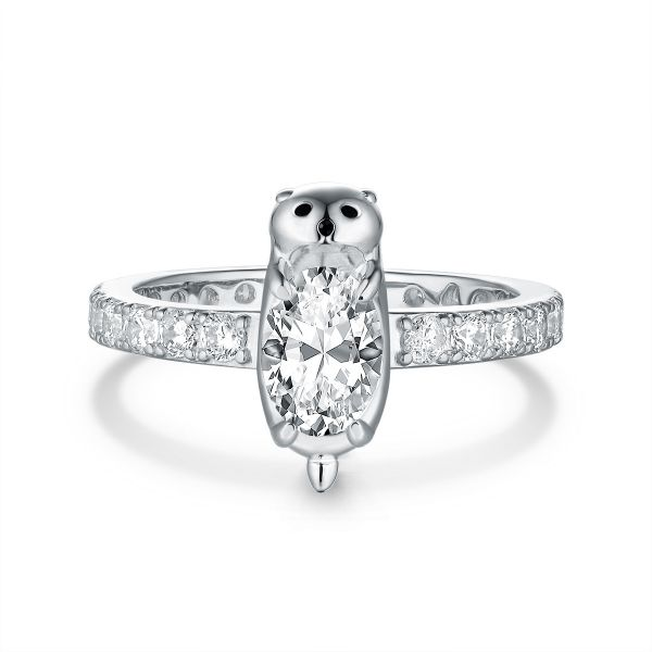 Treasure Heart Sterling Silver Otter Baby Inspired Oval Cut Engagement Ring