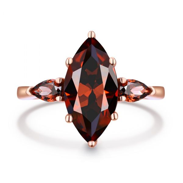 Sterling Silver Classic Three Stone Marquise With Pear Cut Chocolate Engagement Ring