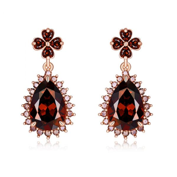 Sterling Silver Exquisite Halo Pear With Round Cut Chocolate Drop Earrings