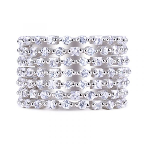 Sterling Silver Luxurious Princess With Round Cut Women's Eternity Wedding Band
