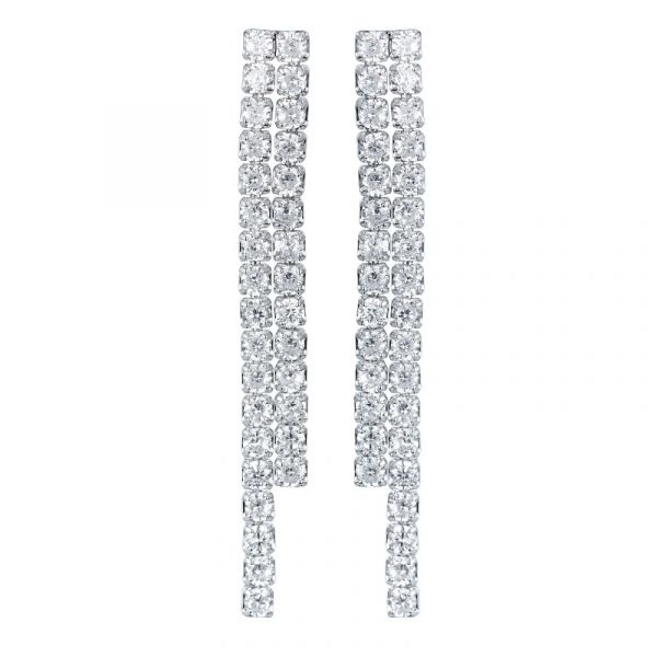 Sterling Silver Classic Two Row Round Cut Dangle Earrings
