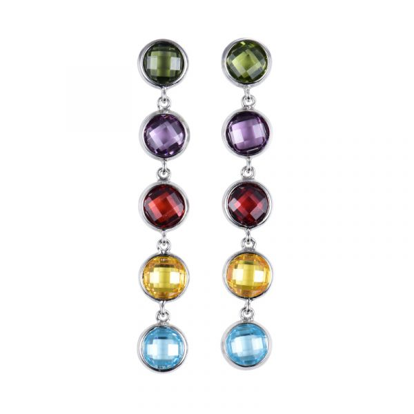 Sterling Silver Exquisite Multi Color Round Cut Drop Earrings