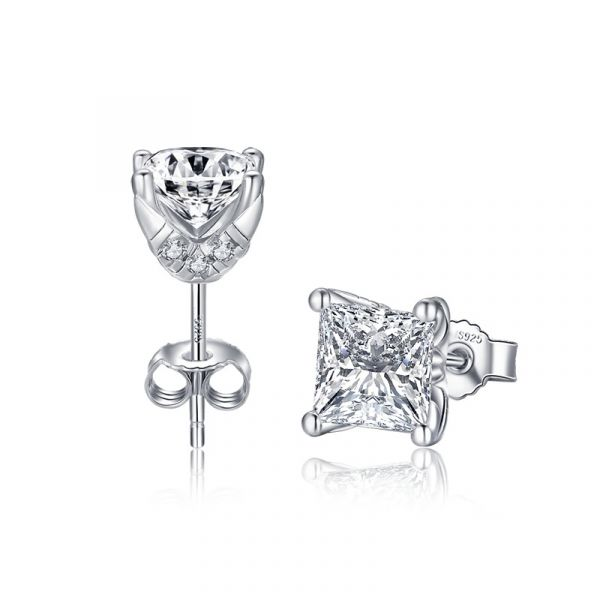 Sterling Silver Unique Halo Princess With Round Cut Stud Earrings