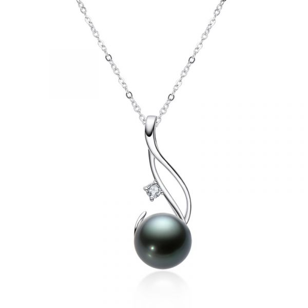 Sterling Silver Luxurious Round Cut Black Cultured Pearl Necklace