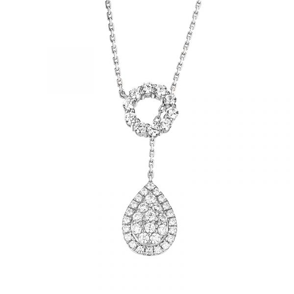 Sterling Silver Halo Pear Shape Design Round Cut Necklace