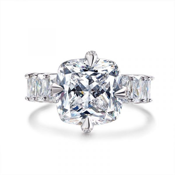 Sterling Silver Exquisite Halo Cushion And Radiant Cut Engagement Ring