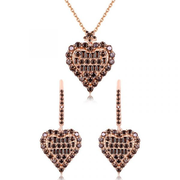 Sterling Silver Unique Heart Shape Halo Round And Baguette Cut Chocolate Jewelry Set