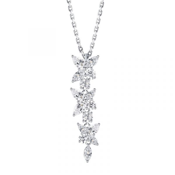 Sterling Silver Classic Floral Marquise Cut Necklace
