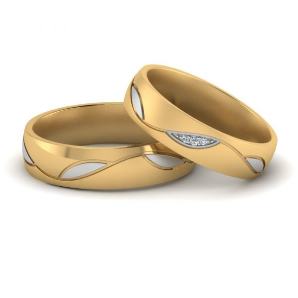 Sterling Silver Two Tone Round Cut Wedding Band Set