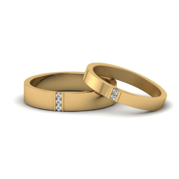 Sterling Silver Classic Round Cut Wedding Band Set