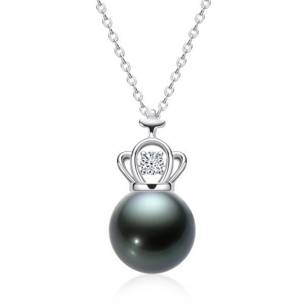 Sterling Silver Luxurious Crown Design Black Cultured Pearl Necklace