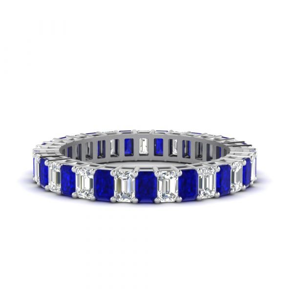 Sterling Silver Exquisite Emerald Cut Women's Eternity Wedding Band