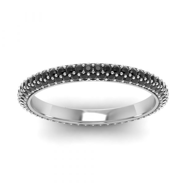 Sterling Silver Three Row Pave Design Round Cut Women's Eternity Wedding Band