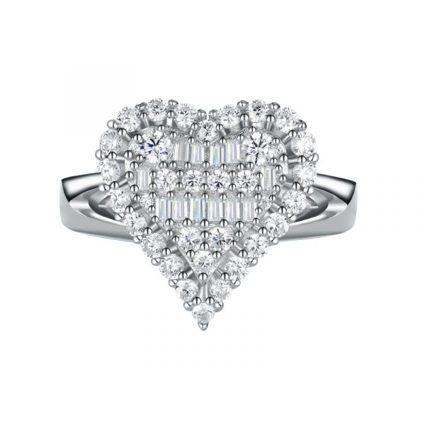 Sterling Silver Double Heart Design Baguette With Round Cut Engagement Ring