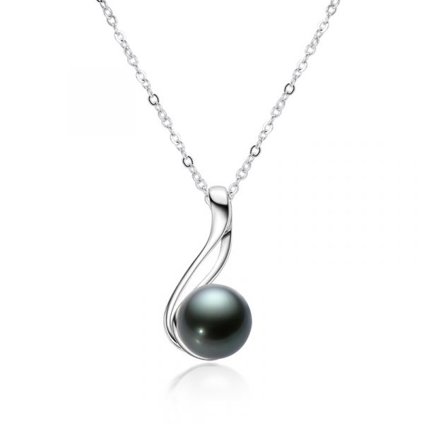 Sterling Silver Luxurious Black Cultured Pearl Necklace