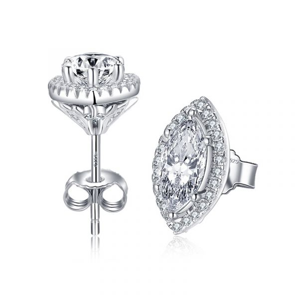 Sterling Silver Classic Halo Marquise With Round Cut Stud Earrings