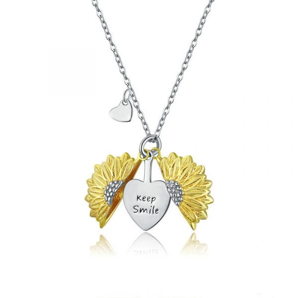 Sterling Silver Sunflower Inspired Keep Smile Two Tone Necklace