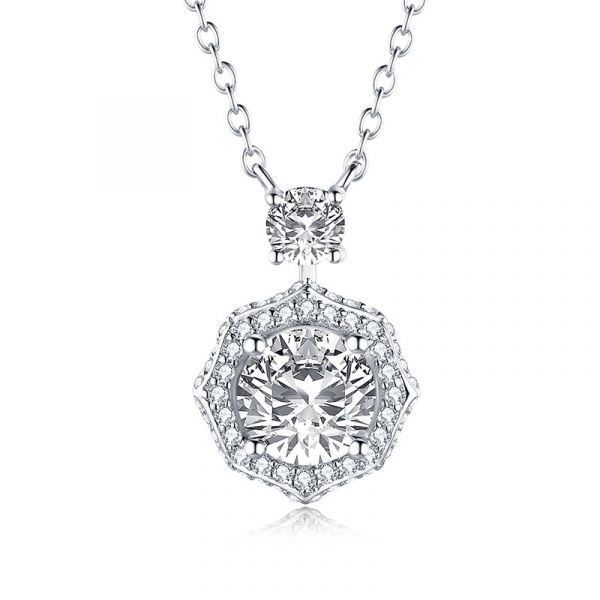 Sterling Silver Exquisite Halo Design Round Cut Necklace