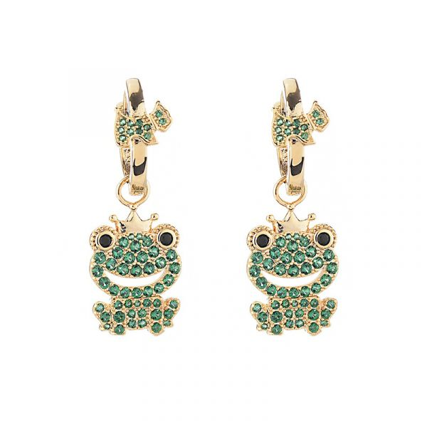 Sterling Silver Classic Cute Frog Inspired Round Cut Drop Earrings
