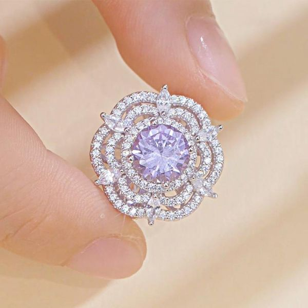 Sterling Silver Floral Split Shank Double Halo Round Cut Engagement Ring