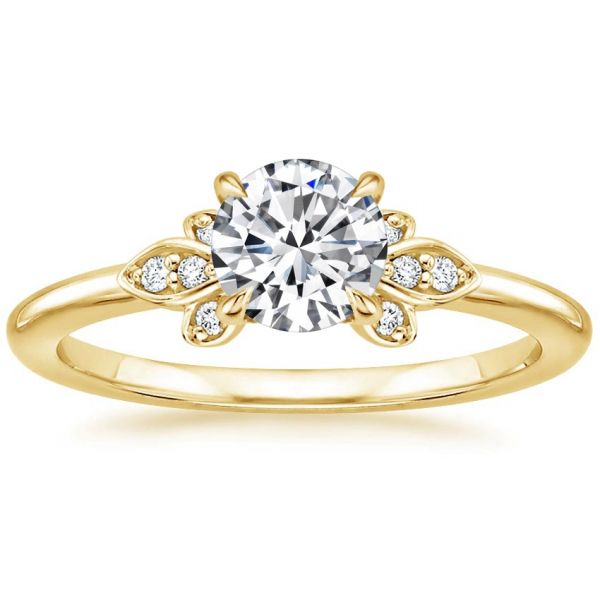 Moissanite Floral Round Cut Engagement Ring
